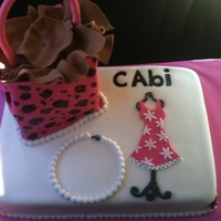 Cabi Party Cake Shopping bag, pearl necklace, Cabi logo