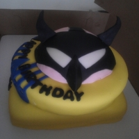 Batman And Bane Birthday Cake Batman and Bane birthday cake. Two layers of cake with a half and half head on top. I used the Wilton 'ball' cake pan for it and...