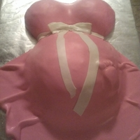 Baby Bump For Girl Baby Shower Breasts made out of a wilton 'ball' pan set, belly is a soccerball pan on top and a carved sheet cake underneath for height and...