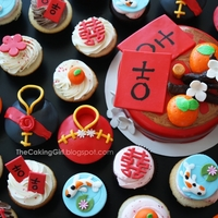 Chinese New Year Cupcakes! www.facebook.com/thecakinggirl - Chinese New Year Cupcakes for my friend's wedding!! :) They had a Chinese New Year themed wedding lol...