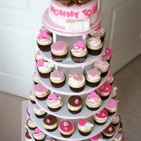 Baby Shower For Girl, Cupcake Tower! I made this for my coworker a month ago, baby girl shower.