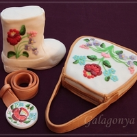 Boot And Bag Cake Kalocsa (hungarian) embroidery