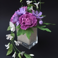 Cosmos, Peony, Periwinkle Bouquet Hungarian on-line Cake and Sugar paste/Gum paste Flower Competition - Gold Medal