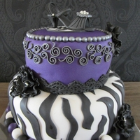 Zebra Birthday cake filled with toblerone mousse.