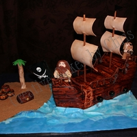 3-D Pirate Ship Pirate ship all fondant and gumpaste. Hand made Pirates, water, decorations all of fondant or gumpaste. I learned a lot of new techniques...