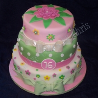 Sweet 16 Three Tiers all Chocolate cake, bottom and top tier have Vanilla Cream filling, middle tier has Raspberry filling. Buttercream and Fondant...