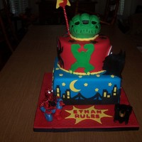 Super Heros Birthday Cake. Cut off the top, so Sorry