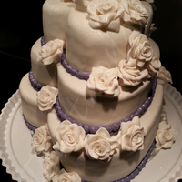 Wedding Cake With Fondant Roses Wedding cake with fondant roses