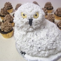 Snowy Owl Wedding chocolate cake filled with buttercream, with a rice krispie head, covered in fondant and buttercream, with a fondant nose and golden eyes,...