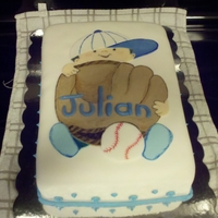 Baseball Baby I made this cake for a baby shower. It's fondant and hand painted.