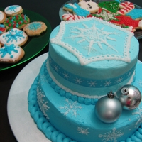 Light Blue Snowflake Cake All butter cream icing except the ornaments