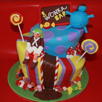 Charlie And The Chocolate Factory My first attempt at a topsy turvy cake. Rainbow sponge, fondant decorated, with a handful of real candy around the base. Inspired by a...