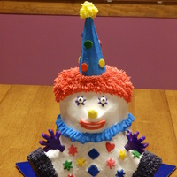 80Th Birthday Clown 3D bear pan, buttercream frosting and fondant embellishments.