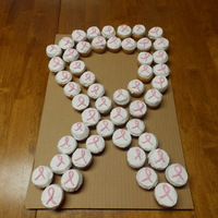 Breast Cancer Awareness Mini cupcakes with butter cream frosting.
