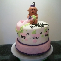 Carriage Baby Shower Carriage & polka dot theme baby shower cake