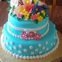 Larissa's Birthday Cake Vanilla cake with chocolate mouse filling with BCI. Also topped with MMF and gumpaste flowers.