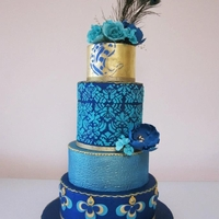 Peacock Blue Wedding Cake This wedding cake was for a couple that wanted to step outside the normal white wedding cake. Her theme was based on Peacock colours which...