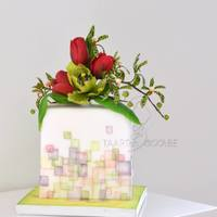 Square Cake With Flowers   square cake with wafer paper squares and flowers (tulip, parrot tulip and aranda orchids)