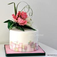 Cake With Parrot Tulips And Square Pattern   An other cake with wafel paper squares en some sugar flowers (parrot tulips)