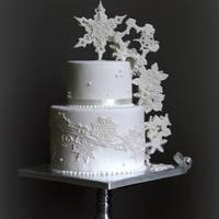 Winter Cake   white 2 tier cake with ice crystals (snow star)