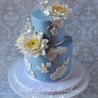 Dahlia And Lace Cake Made this cake for a friend. Flowers and lace are made out of gumpaste.
