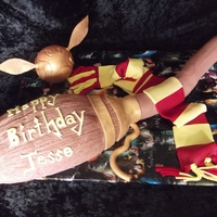 Harry Potter Theme Cake   broom and snitch are cake wand is gum paste and scarf is fondant