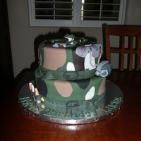 Army Birthday Cake All decorations are edible--grenade is RKT and covered with fondant; soldier, bullets, etc...fondant