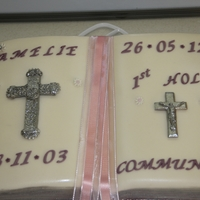 First Holy Communion lemon sponge cake all decorations fondant exept the ribbon,special thanks to panel7124 for the advice on the cross