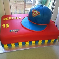 Superman Cake   chocolate cake and chocolate cap all covered in fondant