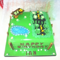 Garden Cake chocolate cake with all fondant decorations