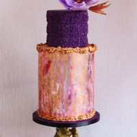Violet My 2 tier cake with wafer paper flower.