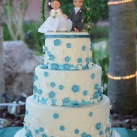 Teal Floral Vanillabean Cake With Mocha Swiss Merengue Filling Flowers And Ribbon Are Fondant Teal Floral VanillaBean Cake with Mocha Swiss Merengue Filling. Flowers and Ribbon are fondant.