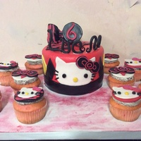 Hello Kitty Strawberry Cake And Cupcakes With Oreo Cream Filling Dark Chocolate Ganache Fondant Hello Kitty Strawberry Cake and Cupcakes with Oreo Cream Filling, Dark Chocolate Ganache, Fondant.