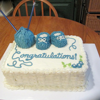 Knitting Baby Shower Cake Baby shower cake for a friend who knits. Devil's food cake with vanilla buttercream in white and Wilton cornflower blue. To make the...