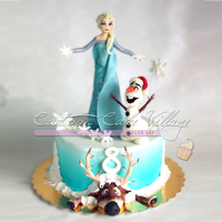 Frozen Cake Queen Elsa, Olaf & Sven in a Frozen Cake 3D.All characters are handmade in sugarpaste.