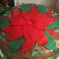 Poinsettia Cake   Flowers and Leaves make from modeling chocolate, buttercream garland