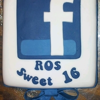 Facebook-Themed Birthday Cake For a facebook addicted teenager's birthday! The 'ribbon' is fondant embossed.