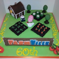 Farmville Birthday Cake I was asked to make this for a real fan of the facebook game Farmville. All elements are edible and fondant except the 'soil'...
