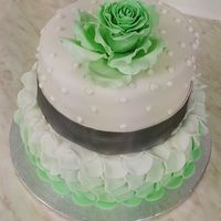 Green - White Wedding Cake