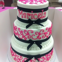 Pink, Black, White Scroll Cake