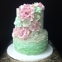 Mint And Blush Bridal Shower Cake Mint and blush bridal shower cake.