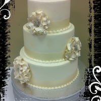 Simple Wedding Cake With Sugar Fantasy Flowers