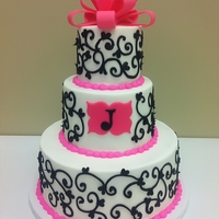 Pink, Black & White Scroll Shower Cake