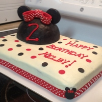 Minnie Mouse 2Nd Birthday Rice krispies hat with fondant, buttercream, sugar sheet border with buttercream polka dots