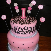 1St Birthday Diva Cake Animal print and bling give this cake a diva look.