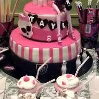 "Monster High Bowling Themed Cake With Soda Jerks  The birthday girl wanted a Monster High cake that would fit in with her bowling party...the soda jerk cupcakes added that ""bowling..."