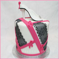 Pink Ribbon Cake This is a cake i made in the Pink Ribbon theme and with a heel op top.