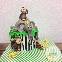 Jungle Cake For My Own Little Monkey! My 5 year ols son loves monkey's so i made him this really fun cake! He really loved it :)