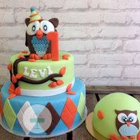 Owl Cake For A Baby Boy! For a little boy first birthday! The owl on top of the cake is a dummy and the small cake is for him to smash :).