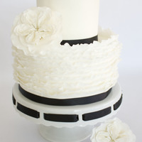 Fondant Ruffle Cake With English Cabbage Roses Thanks Craftsy! My favorite cake I've made so far!